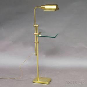 Brass and Glass Adjustable Floor Lamp