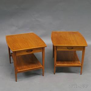 Pair of Heritage Henredon Midcentury Walnut Onedrawer Side Tables