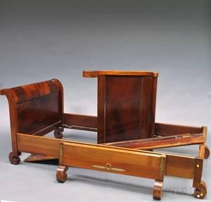 Pair of Empirestyle Brassmounted Mahogany Sleigh Beds
