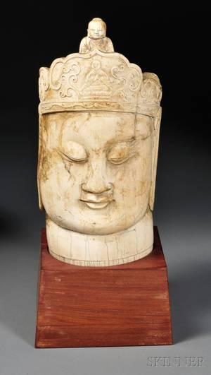 Ivory Buddha Head on Stand