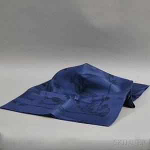 Hermesstyle Blue Silk Scarf