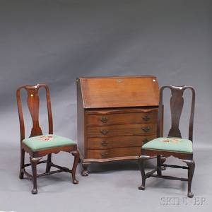 Pair of Queen Anne Mahogany Side Chairs and a Chippendalestyle Slantlid Desk