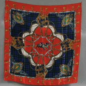 Hermes Red Blue and Green Plaid Silk Scarf