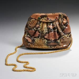 Chanel Purple and Green Leather Snakeskinpattern Shoulder Bag