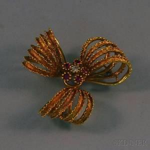 Retro 18kt Gold Ruby and Diamond Ribbon Brooch