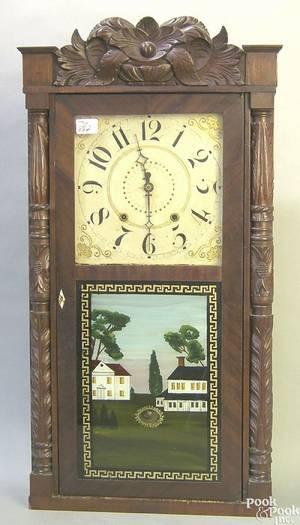 Connecticut mahogany mantle clock by Elisha Hotchkiss