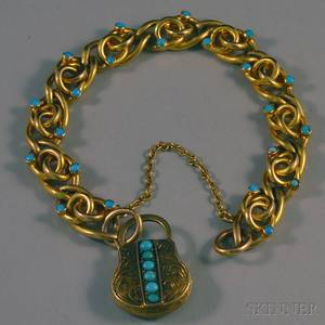 Antiquestyle 14kt Gold and Turquoise Bracelet