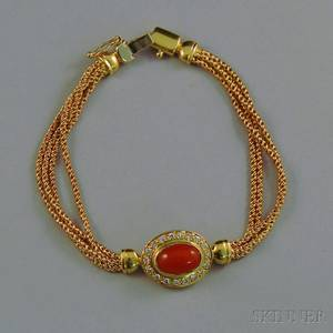 Italian 18kt Gold Coral and Diamond Bracelet