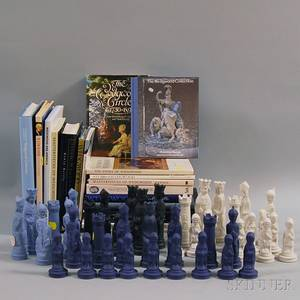 Fortythree Wedgwood Chess Pieces and Nineteen Wedgwood Reference Books