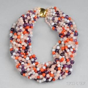 Gemstone Bead Torsade Necklace Elsa Peretti Tiffany  Co