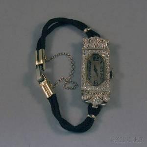 Ladys Art Decostyle Platinum and Diamond Wristwatch