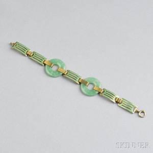 Art Deco 14kt Gold Jade and Enamel Bracelet Wordley Allsopp  Bliss