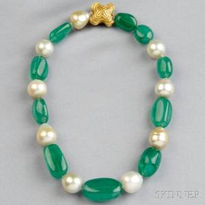 Emerald and Baroque South Sea Pearl Necklace Christopher Walling