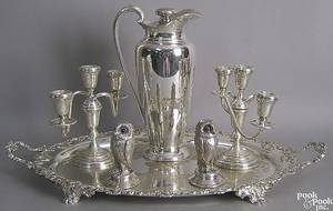 Group of silver plate and weighted table articles