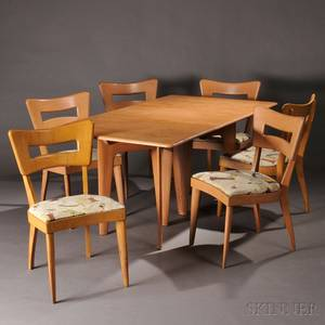 Heywood Wakefield Dining Table and Six Dogbone Chairs