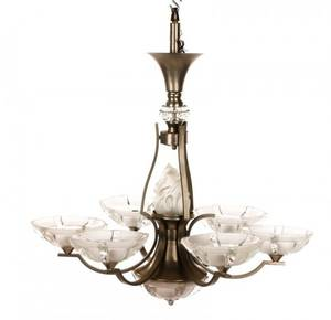 Art Deco Style Brushed Aluminum 6 Light Chandelier