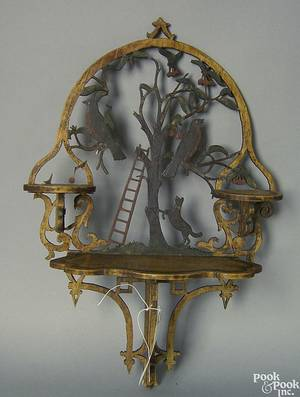 Folk art carved and painted hanging shelf