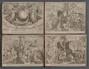 Stradanus Johannes 15231605 Americae Retectio Four Engravings