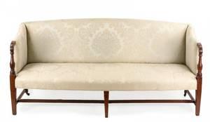 Sheraton Damask Silk Upholstered Settee