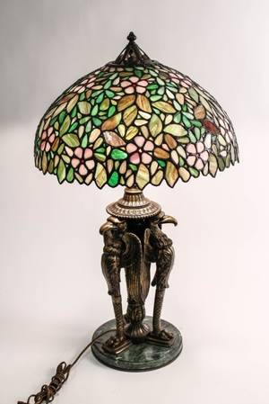 American Leaded Glass  Bronze Figural Lamp
