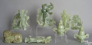 Nine Chinese jade carvings