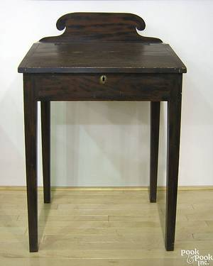 Maine painted pine schoolmasters desk earlymid 19th c