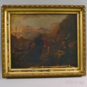 AngloAmerican School 19th Century The Final Farewell Genre Scene in a Rugged Landscape