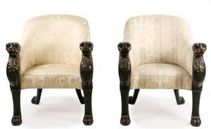 Pair of Regency Style Tub Bergeres by Baker