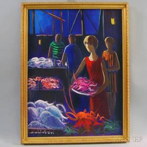 Eliano Fantuzzi Italian 19091987 The Seafood Market