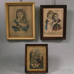 Two Framed Currier  Ives Small Folio Portrait Lithographs and a Small German Lithograph