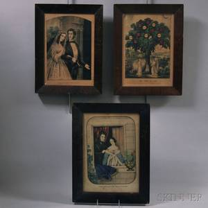 Three Framed Currier  Ives Small Folio Lithographs
