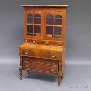 Classical Mahogany Veneer Glazed Desk and Bookcase