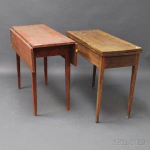 Country Federal Birch Card Table and a Redpainted Dropleaf Table