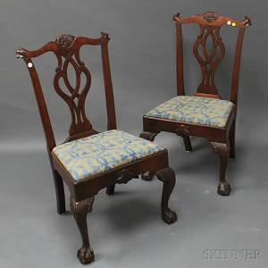Pair of Chippendalestyle Mahogany Side Chairs