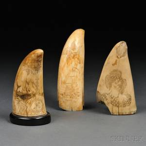 Three Scrimshaw Whales Teeth and Two Ivoryhandled Canes
