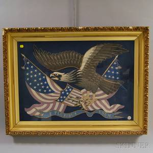 Asian Export Silk Needlework Picture of a Bald Eagle and the American Flag