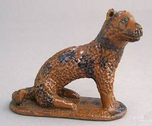 Shenandoah Valley redware figure of a seated dog late 19th c