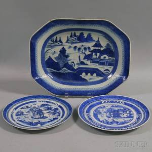Canton Blue and White Porcelain Platter and Two Nanking Porcelain Dinner Plates