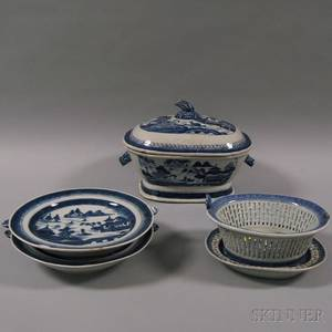Four Pieces of Blue and White Canton Porcelain