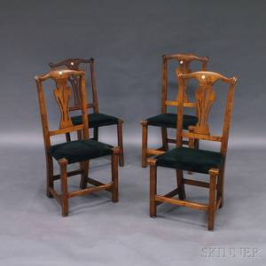 Assembled Set of Four Country Chippendale Side Chairs