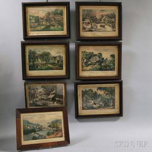 Seven Framed Currier  Ives Lithographs