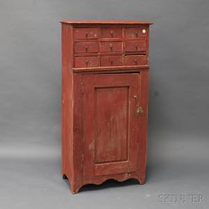 Redpainted Apothecary Cupboard