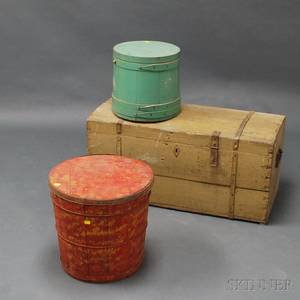 Small Painted Dometop Trunk Green Painted Firkin and a Painted Wood and Tin Canister
