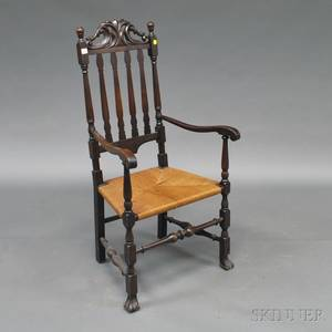Stained and Carved Bannisterback Armchair