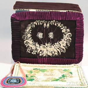 Two Victorian Embroidered Silk Bible Covers and a Small Beaded Silk and Velvet Purse