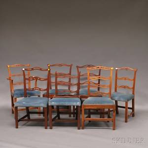Assembled Set of Seven Chippendale and Chippendalestyle Ribbonback Chairs