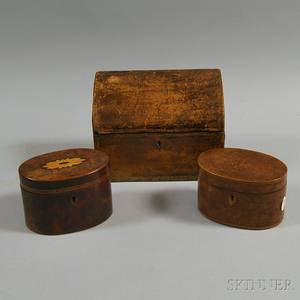 Two Inlaid Burl Veneer Covered Trinket Boxes and a Leathercovered Document Box