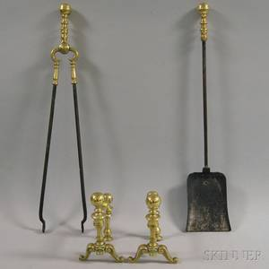 Small Brass Balltop Andirons and a Pair of Fireplace Tools