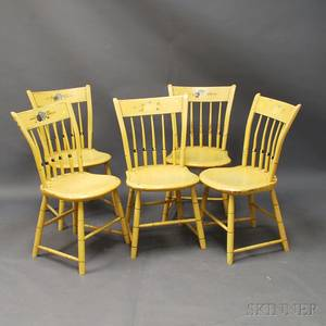Set of Five Yellowpainted Windsor Thumbback Side Chairs