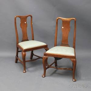 Pair of Queen Anne Walnut Side Chairs